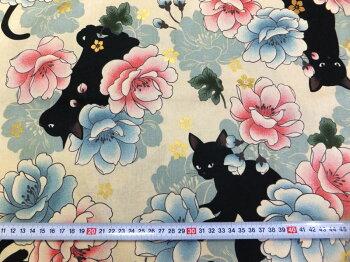 百華繚蘭黒猫と牡丹キルトゲイト(綿生地布)