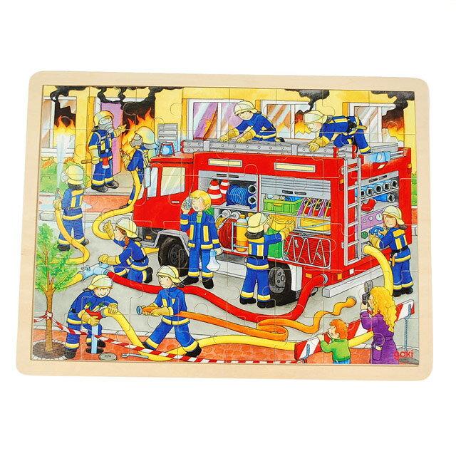 【goki 知育玩具 木製パズル 消火活動】2歳 3歳 4歳 誕生日プレゼント おもちゃ 木のおもちゃ 男 女 知育 パズル 幼児 おしごと はたらくくるま 3歳頃〜■あす楽