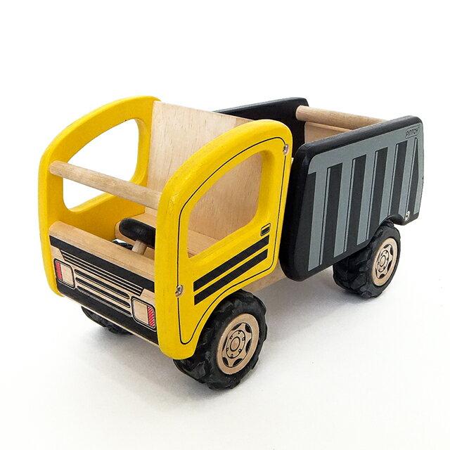 木のおもちゃ 車【ピントーイ 天然木 ダンプカー】木製 知育玩具 男の子 はたらくくるま プレゼント 2歳 3歳 PINTOY■あす楽