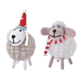 クリスマス モコモコアニマル ヒツジ フェルト 置物 インテリア 飾り プチギフト プレゼント Xmas MARKS マークス