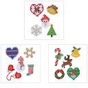 クリスマス 刺繍ステッカー シール ギフト プレゼント クリスマスカード グリーティングカード マークス