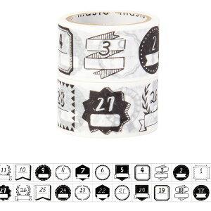 マスキングテープ 手帳 水性ペンで書けるマスキングテープ ミシン目入り・手帳デコ2巻セット 「マステ」 日付柄・手描きモノクロ