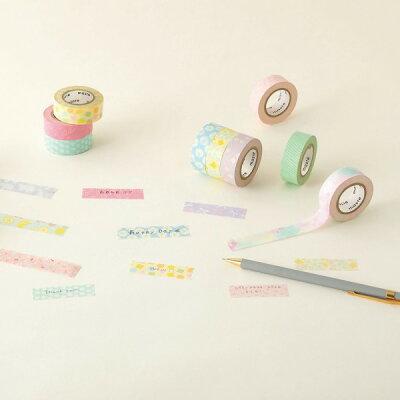 マスキングテープ手帳水性ペンで書けるマスキングテープ小巻「マステ」どうぶつ動物アニマルパープル紫マークス