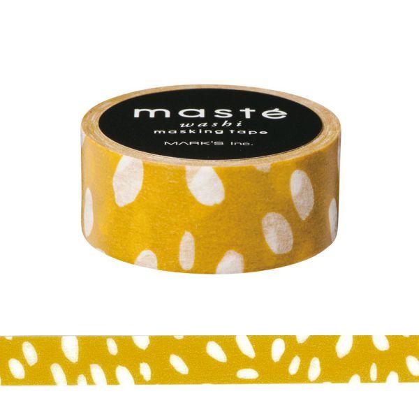 マスキングテープ ベーシック 「マステ」 ハンドペイント ドロップドット マスタード 手描き シール 海外限定デザイン