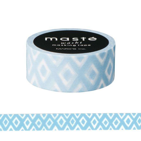 マスキングテープ ベーシック 「マステ」 ハンドペイント ポルカダイヤモンド アイスブルー 手描き シール 海外限定デザイン