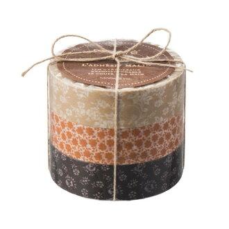 "Masking tape reproduction three set ""マステ"" coffret do Kucu Rie brown tea brown marks"