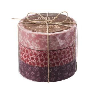 """Masking tape reproduction three set """"マステ"""" coffret do Kucu Rie Bordeaux red dirt red marks"""