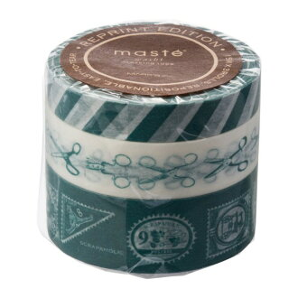 """Masking tape reproduction three set """"マステ"""" スクラップホリックブルー blue あお marks"""