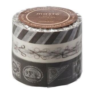 """Masking tape reproduction three set """"マステ"""" スクラップホリックブラウン tea brown marks"""