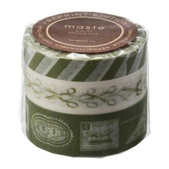 "Masking tape reproduction three set ""マステ"" スクラップホリックオリーブ green green green marks"