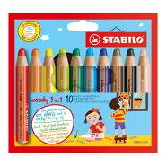 ウッディ/10色セット/色鉛筆/10mm/マルチ色鉛筆(色鉛筆・水彩色鉛筆・クレヨンノ3機能)/STABILO(スタビロ)