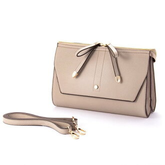 W ribbon 2 flap shoulder bag beige ESMERALDO happiness エスメラルドハピネス cute stylish lady's marks