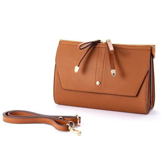 W ribbon 2 flap shoulder bag camel ESMERALDO happiness エスメラルドハピネス cute stylish lady's marks