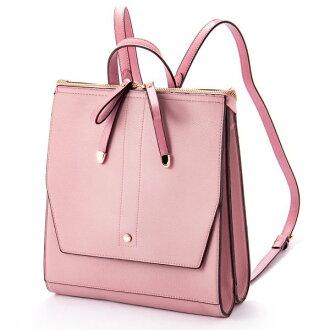 W ribbon 2 flap backpack rucksack pink ESMERALDO happiness エスメラルドハピネス cute stylish lady's marks