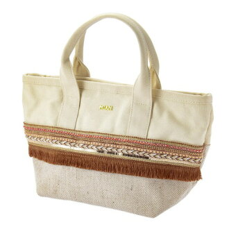 Mixture embroidery tote bag canvas beige Mian ミアン fashion cute lady's marks