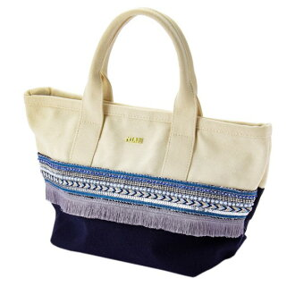 Mixture embroidery tote bag canvas navy dark blue Mian ミアン fashion cute lady's marks