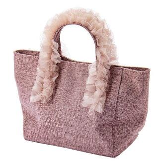 Organdy frill steering wheel tote bag hemp pink Mian ミアン fashion cute lady's marks