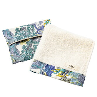 FLORET LONDON flow let London gift set hand towel handkerchief tissue cover blue Mother's Day gift liberty LIBERTY