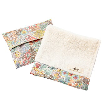 FLORET LONDON flow let London gift set hand towel handkerchief tissue cover orange Mother's Day gift liberty LIBERTY