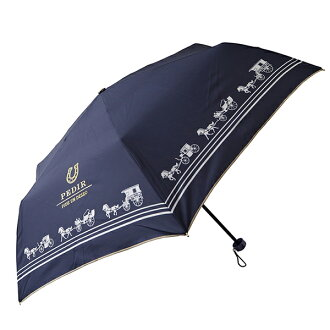 Fair or rainy weather combined use PEDIR ペディールネイビーマークス lightweight more than 90% of folding umbrella Lady's UV cut rates