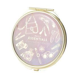 コンパクト ミラー ミニ 鏡 拡大鏡付き コスメファッション ピンクパープル マークス