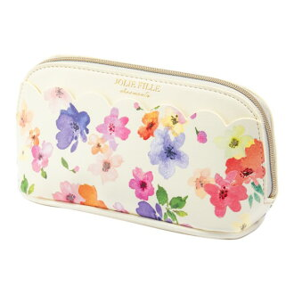Stylish ivory JOLIE FILLE Joly フィーユ シャルマントマークス which the porch cosmetics makeup porch flower scallop shell floral design with the gusset has a cute