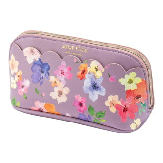Stylish pink JOLIE FILLE Joly フィーユ シャルマントマークス which the porch cosmetics makeup porch flower scallop shell floral design with the gusset has a cute