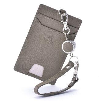 Single pass case pass holder commuter pass graige PEDIR ペディール cowhide genuine leather marks belonging to ドラリーノレザーリール