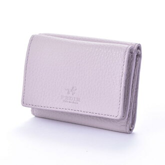Three ドラリーノレザーコンパクトウォレットミニ wallets fold wallet pink beige PEDIR ペディール cowhide genuine leather marks