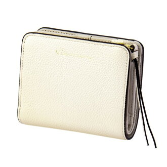 Two pearl 2 fold wallet mini-ivory EDITO365 wallet fashion cute genuine leather Lady's marks