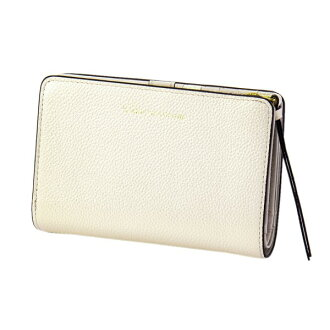Two pearl 2 fold wallet ivory EDITO365 wallet fashion cute genuine leather Lady's marks