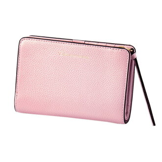 Two pearl 2 fold wallet pink EDITO365 wallet fashion cute genuine leather Lady's marks