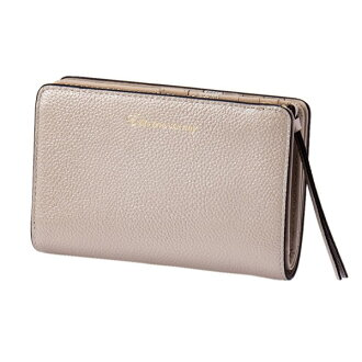 Two pearl 2 fold wallet silver EDITO365 wallet fashion cute genuine leather Lady's marks