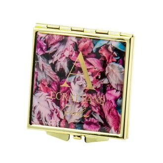 Antique flower square mirror small size A pink Brilliant brilliant mirror cosmetics Lady's cute stylish adult girl marks
