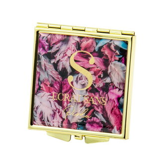 Antique flower square mirror small size S pink Brilliant brilliant mirror cosmetics Lady's cute stylish adult girl marks