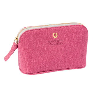 The horse's hoof marks that porch cosmetics accessory case pink PEDIR ペディール fashion with corduroy gusset shows cute