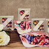Antique flower towel handkerchief M lavender Brilliant brilliant gift Lady's cute stylish adult girl marks
