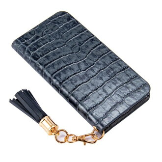 The adult girl marks that smartphone case notebook type Lilietmoi リリエモワタッセルクロコネイビーカバーフラップアイフォン genuine leather leather fashion shows cute for 6 for iPhone 8 7 6s