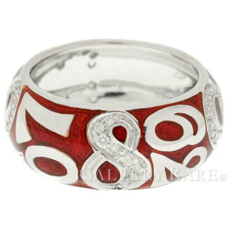 FRANCK MULLER Ring Talisman Diamond K18WG Red Enamel Size #10 Accessory 4795728
