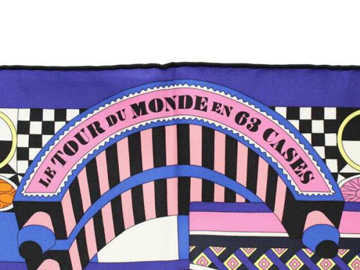 エルメススカーフカレ9063マスの世界旅行LeTourDuMondeEn63CasesHERMESシルク2018年秋冬コレクションサイコロボードゲーム