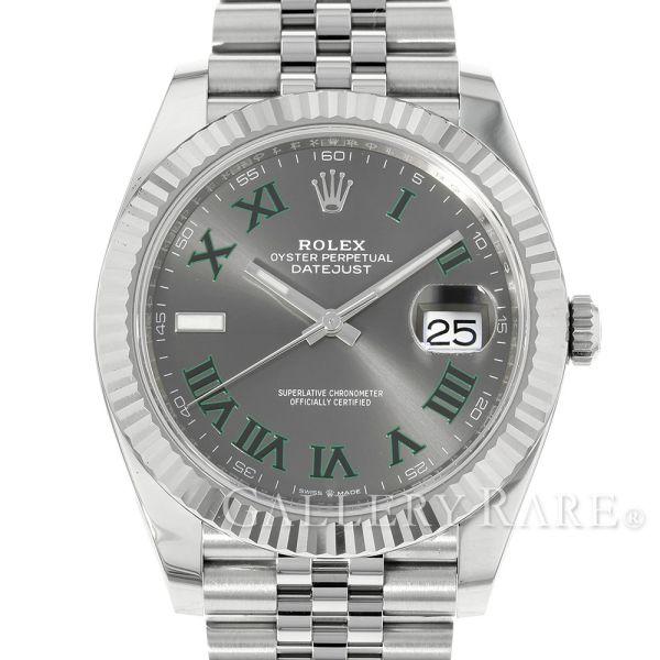ロレックス デイトジャスト41 グレー文字盤 SS×K18ホワイトゴールド ランダムシリアル ルーレット 126334 ROLEX 腕時計【安心保証】【中古】