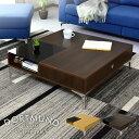 テーブル ローテーブル 引き出し 強化ガラス 収納 棚付き 正方形 幅90cm センターテーブル コーヒーテーブル リビングテーブル ガラステーブル ドルトムント