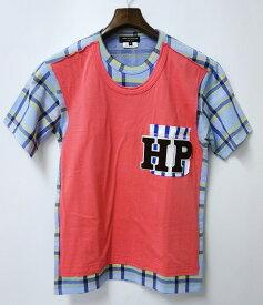 【美中古】COMME des GARCONS HOMME PLUS (コムデギャルソン オム プリュス) チェック柄 ドッキングTシャツ S  MADE IN JAPAN TEE 【中古】