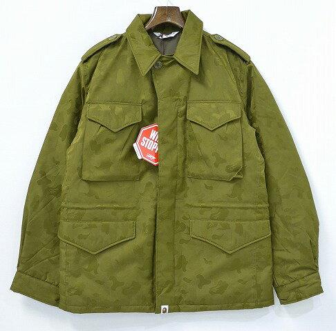 【新品】A BATHING APE(アベイシングエイプ)GORE-TEX M-43 ダウンジャケット M KHAKI ジャガードミリタリージャケット ウインドストッパー