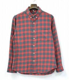 【中古】 KATO BASIC (カトーベーシック) CHECK COTTON SHIRTS チェックコットンシャツ S RED×GREEN 14SS
