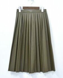 【中古】 HYSTERIC GLAMOUR WOMENS (ヒステリックグラマー ウーマンズ レディース) SYNTHETIC LEATHER ミモレサイドプリーツSK プリーツスカート S KHAKI 15AW