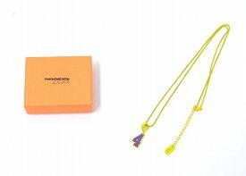 """【新品】 PHENOMENON × NANA-NANA (フェノメノン×ナナ ナナ) NUMBER NECKLACE """"4"""" ナンバーネックレス YELLOW×PURPLE"""