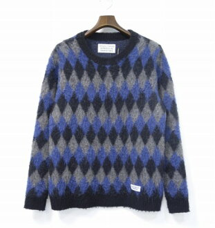 WACKO MARIA(wakomaria)BABYALPACA DIAMOND CHECK SWEATER婴儿羊驼钻石检查毛衣M GREY 16AW KNIT编织物CREW NECK圆领