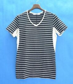 【中古】 VADEL (バデル) draping V-neck S/S ボーダーVネックカットソー 15SS BLACK/WHITE 44 ブラック/ホワイト 切り替え Border T-Shirts Tee Tシャツ