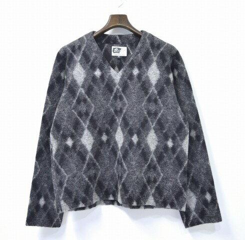 【中古】 ENGINEERED GARMENTS (エンジニアードガーメンツ) V Popover - Argyle Sweater Knit Vネック ポップオーバー アーガイルセーターニット Grey M グレー V-Neck Pullover プルオーバー